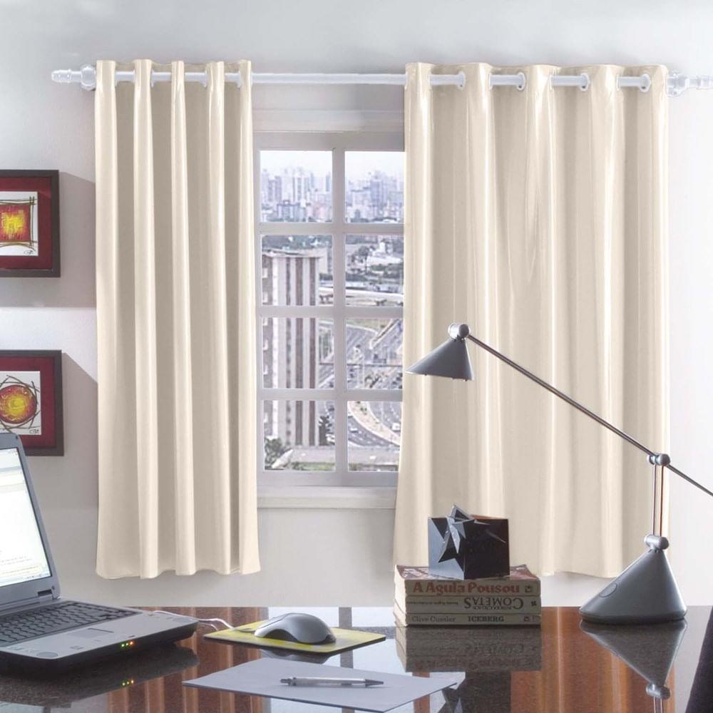 decoracao de sala longa:Cortina Blackout Corta Luz em PVC para Varão 280 x 160m Bege/Bege