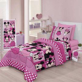 Roupa-de-Cama-Infantil-Disney-Minnie-Love-1-Rosa---Santista