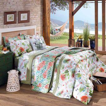 Cobre-leito-Solteiro-Malha-Tropical-com-Porta-Travesseiro---Lynel