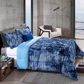 Cobre-leito-Queen-Peles-Tye-Dye-Azul-com-Porta-Travesseiros---Hedrons