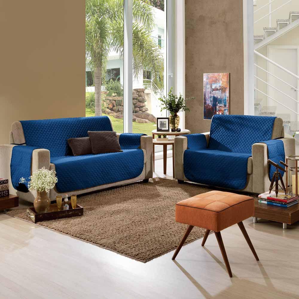Protetor de Sofá 3 e 2 Lugares Azul Pavão Master - Hedrons