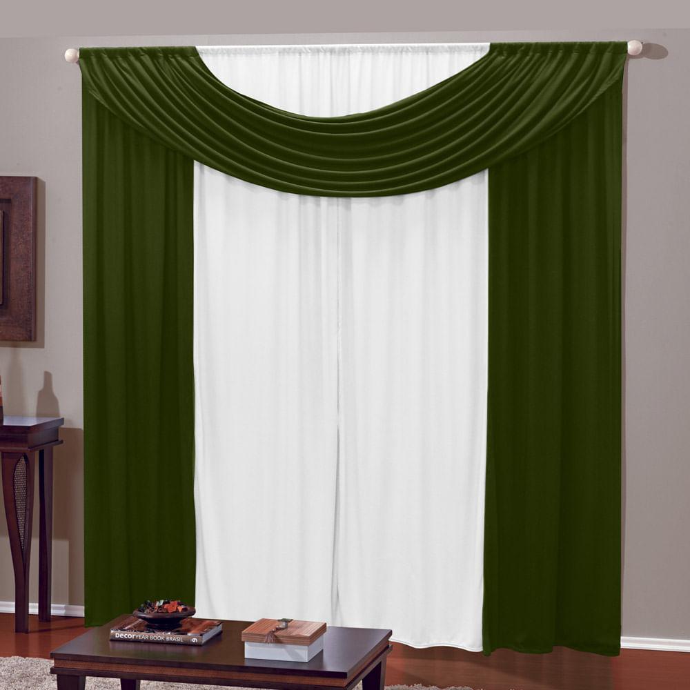 Cortina para Varão 300 x 230cm em Malha Branco / Verde Athenas - Izaltex