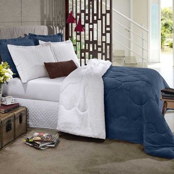 Edredom-Queen-Plush-Sherpa-Navy---Hedrons