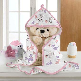 Toalha-de-Banho-Felpuda-Puppies-Baby-Rosa---Bouton