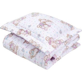 Cobre-leito-para-Berco-ursinha-carinhosa--Baby-2-Pecas-Lynel