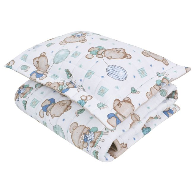 Cobre-leito-para-Berco-ursinho-jardinheiro--Baby-2-Pecas-Lynel