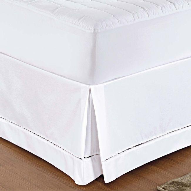 Saia para cama box solteiro ponto palito lynel branca