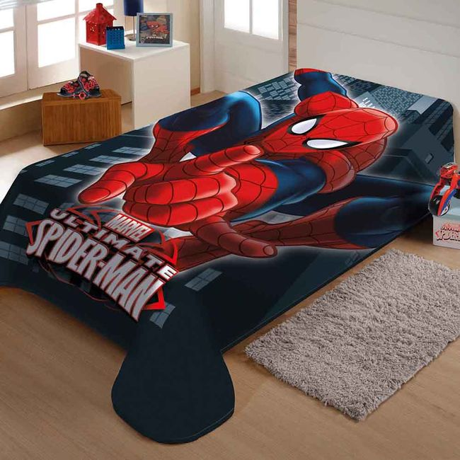 Cobertor-Solteiro-Raschel-Homem-Aranha-Jolitex