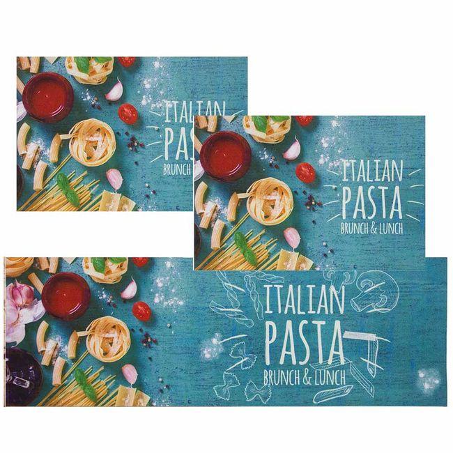 Jogo-de-Tapete-de-Cozinha-Mangiare-italian-pasta-3-Pecas-Jolitex