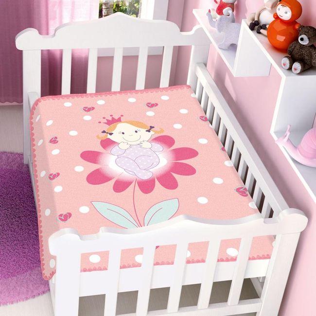 Cobertor-Bebe-Raschel-princesinha-na-flor-rosa-Jolitex