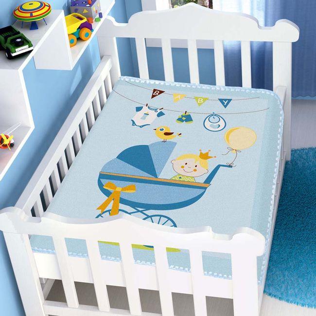 Cobertor-Bebe-Raschel-carrinho-de-bebe-Azul-Jolitex