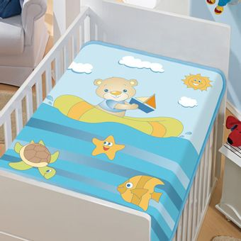 Cobertor-Bebe-Tradicional-barquinho-no-mar-Azul-Jolitex