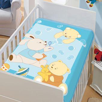 Cobertor-Bebe-Tradicional-bolinhas-de-sabao-Azul-Jolitex