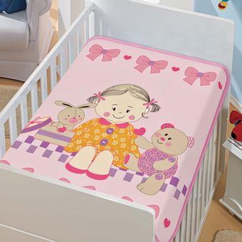 Cobertor-Bebe-Tradicional-doce-amigas-Rosa-Jolitex