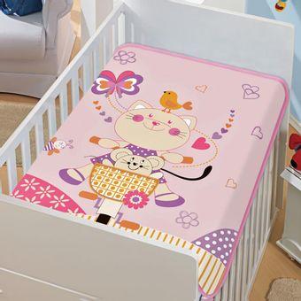 Cobertor-Bebe-Tradicional-gatinha-pedalando-Rosa-Jolitex