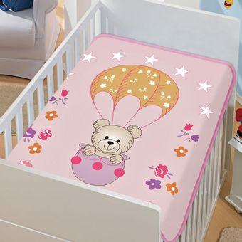 Cobertor-Bebe-Tradicional-Passeio-de-Balao-Rosa-Jolitex