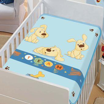 Cobertor-Bebe-Tradicional-Time-de-Cachorros-Azul-Jolitex