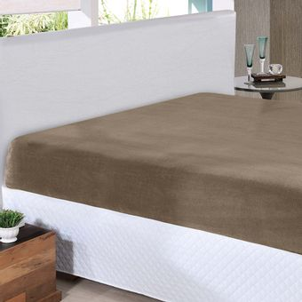 Lencol-Casal-Plush-Taupe-Hedrons