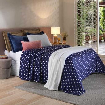 Cobertor-queen-Plush-Dots-Navy-Hedrons