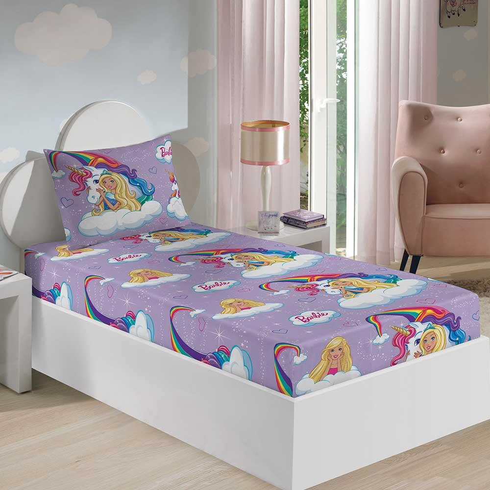 cfc2eb1e6c Jogo de Cama Infantil Barbie Reinos Mágicos - ShopCama