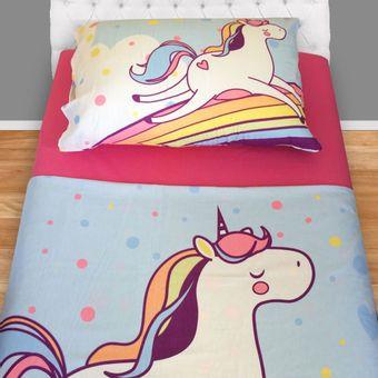 Jogo-de-cama-infantil-unicornio-sobrelencol-estampado-e-lencol-de-baixo-rosa-fronha-estampada-unicornio