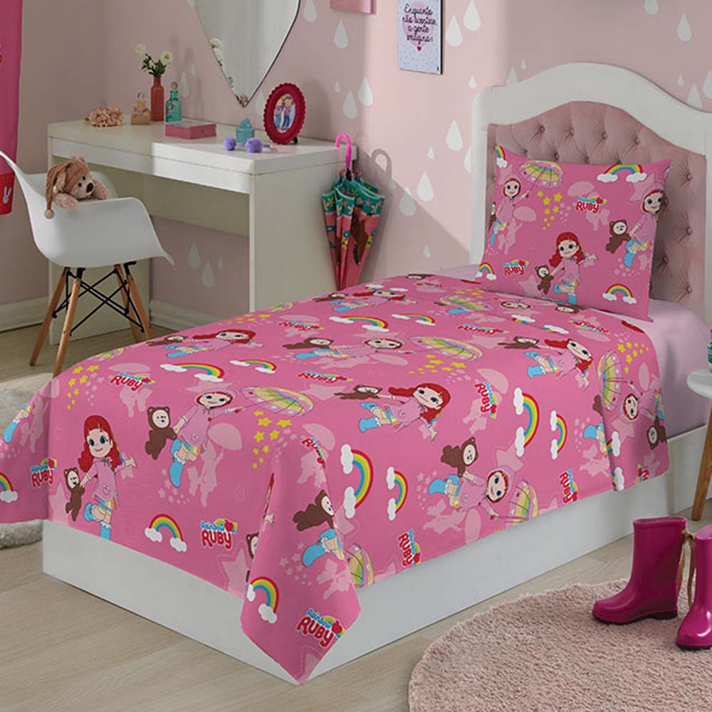 959cc5f900 Roupa de Cama Infantil Rainbow Ruby 3 Peças - ShopCama