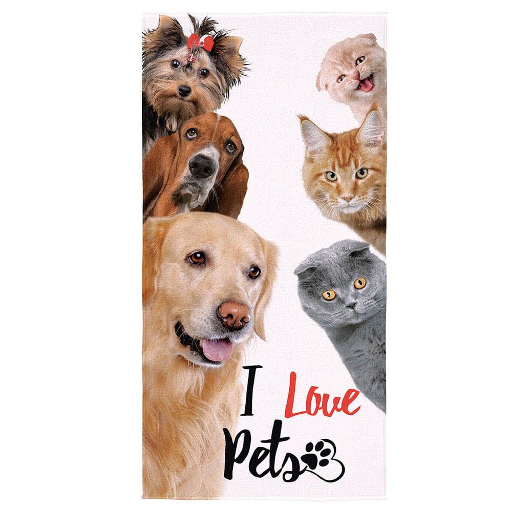 3197a9b94f Toalha de Banho Aveludada I Love Pets - Lepper - ShopCama