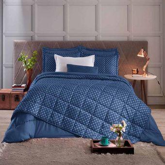 Colcha-Solteiro-com-Porta-Travesseiro-Luma-Joy-Azul-Indigo-Hedrons-1