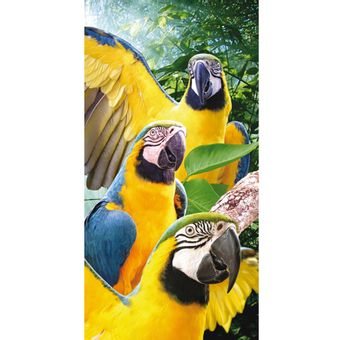 Toalha-de-Praia-Aveludada-Bouton-Mult-Macaws