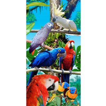 Toalha-de-Praia-Aveludada-Bouton-forest-birds