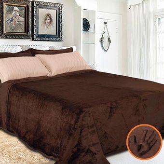 Cobertor-Toque-de-luxo-Europa-Marrom-escuro