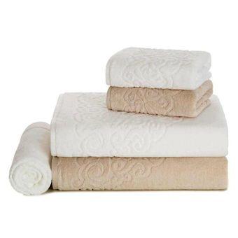 jogo-de-banho-karsten-5-pecas-banhao-elegance-bege-branco-foto-toalhas