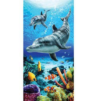 Toalha-de-Praia-Dohler-Dolphins-Life-Blue