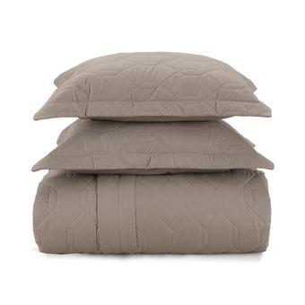 Colcha-Queen-Size-Karsten-Marrom-Taupe-180-Fios-com-2-porta-travesseiros