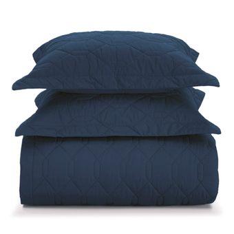 Colcha-King-Size-Karsten-com-Porta-Travesseiro-Azul-Marinho