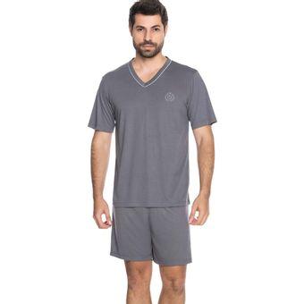 Pijama-Masculino-Manga-Curta-Shorts-e-Camiseta-Senilha-6296-Chumbo-M