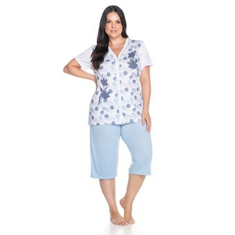 Pijama Feminino Capri Manga Curta Aberto Senilha 6280 Azul M