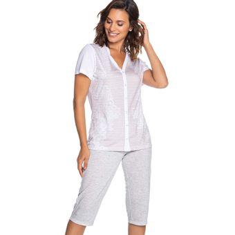Pijama-Feminino-Capri-Manga-Curta-Aberto-Senilha-6280-Cinza-P