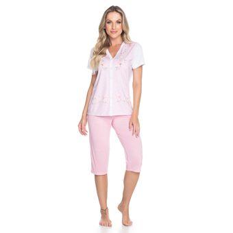 Pijama-Feminino-Capri-Manga-Curta-Aberto-Senilha-6280-Rosa-G