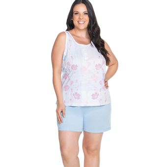 Pijama Feminino Regata e Shorts Senilha 6281 Azul M