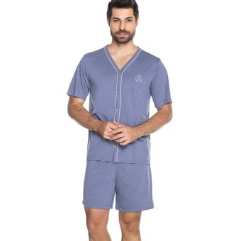 Pijama-Masculino-Shorts-e-Camiseta-com-Botao-Senilha-6292-Azul-Jeans-GG