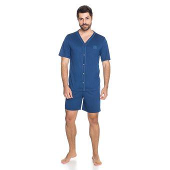 Pijama-Masculino-Shorts-e-Camiseta-com-Botao-Senilha-6292-Marinho-P