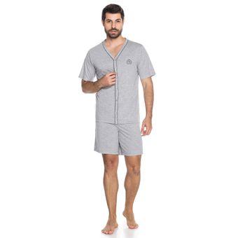 Pijama-Masculino-Shorts-e-Camiseta-com-Botao-Senilha-6292-Cinza-P