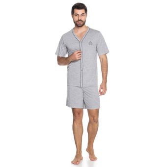 Pijama-Masculino-Shorts-e-Camiseta-com-Botao-Senilha-6292-Cinza-M