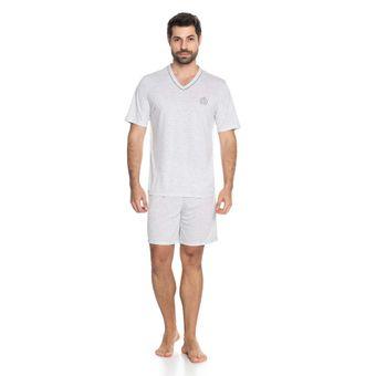 Pijama-Masculino-Shorts-e-Camiseta-Manga-Curta-Malha-Senilha-6294-Cinza-P