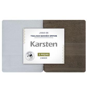 Toalha-de-Banho-Karsten-Empire-Kit-2-Pecas-Branco-e-Marrom