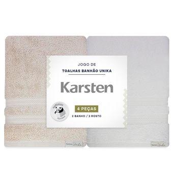 Jogo-de-Toalhas-Banhao-Karsten-Unika-4-Pecas-Bege-e-Branco-embalagem-