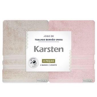 Jogo-de-Toalhas-Banhao-Karsten-Unika-4-Pecas-Bege-e-Rosa-embalagem-