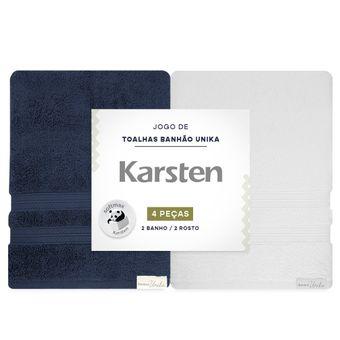 Jogo-de-Toalhas-Banhao-Karsten-Unika-4-Pecas-Marinho-e-Branco-embalagem-