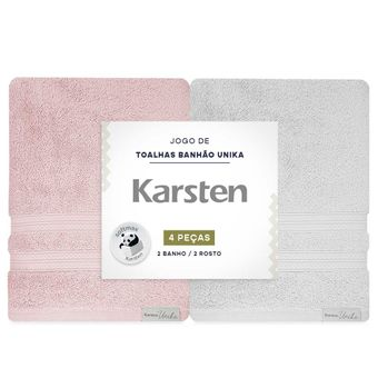 Jogo-de-Toalhas-Banhao-Karsten-Unika-4-Pecas-Rosa-e-Cinza-embalagem-